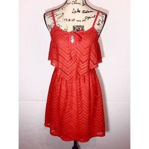 Ruby Rod Layered Fit & Flare Spaghetti Strap Dress